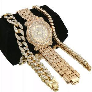 3 pcs bracelets watch gold iced out set